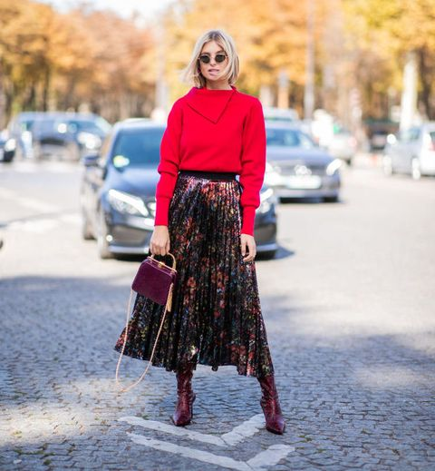 Clothing, Street fashion, Fashion, Red, Pink, Waist, Footwear, Brown, Dress, Outerwear,