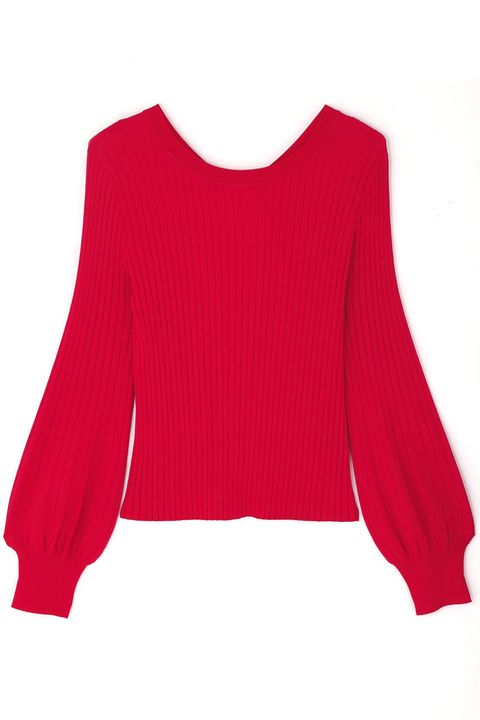 Clothing, Red, Sleeve, Pink, Shoulder, Neck, Magenta, Blouse, Crop top, Top,