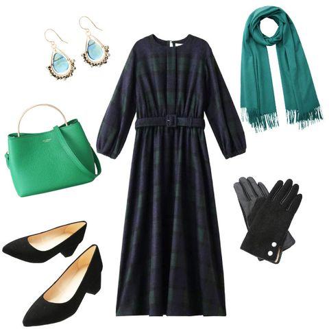 Clothing, Green, Black, White, Dress, Sleeve, Fashion, Footwear, Little black dress, Outerwear,