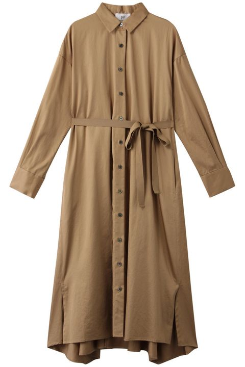 Clothing, Sleeve, Outerwear, Robe, Collar, Trench coat, Coat, Beige, Dress, Button,