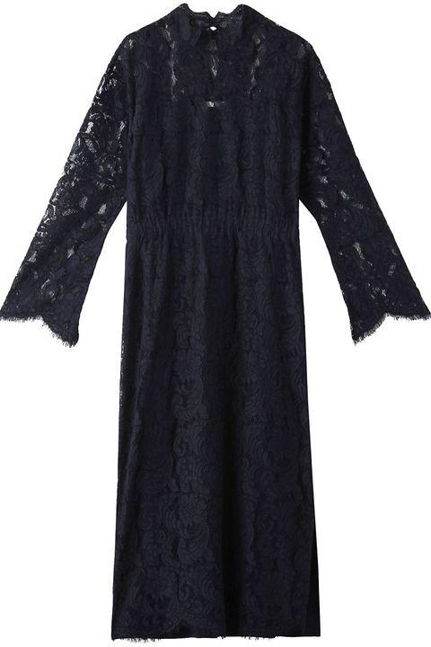 Clothing, Black, Sleeve, Dress, Outerwear, Robe, Day dress, Little black dress, Lace,