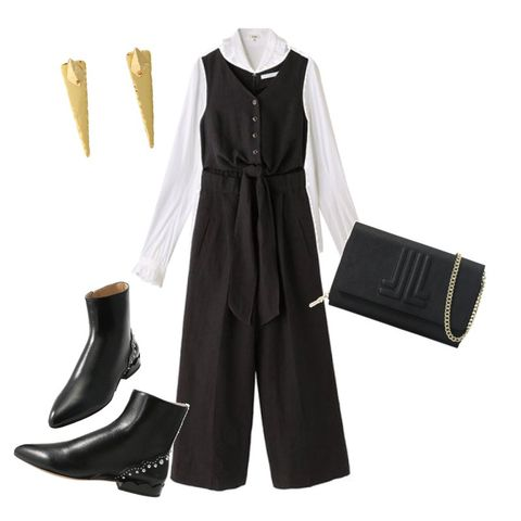 Clothing, Black, White, Footwear, Yellow, Sleeve, Outerwear, Trousers, Dress, Formal wear,