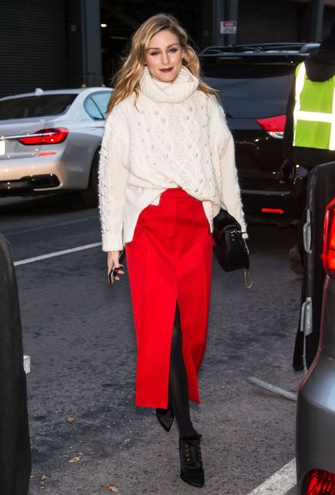 Clothing, Street fashion, Red, Fashion, Footwear, Leg, Trousers, Outerwear, Shoe, Textile,