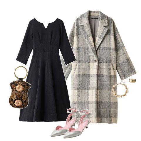 Clothing, White, Plaid, Tartan, Overcoat, Trench coat, Robe, Coat, Dress, Pattern,