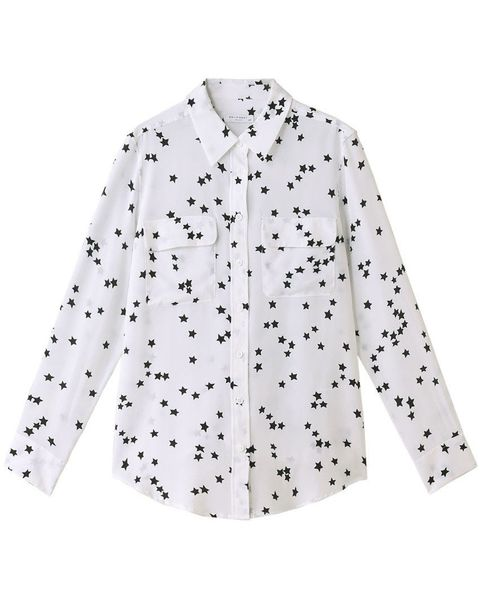 Clothing, White, Sleeve, Outerwear, Collar, Pattern, Top, Shirt, Button, Design,