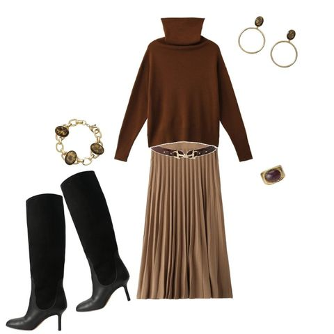 Clothing, Brown, Dress, Fashion, Sleeve, Footwear, Beige, Costume, Neck, Fashion accessory,