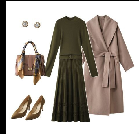 Clothing, Outerwear, Coat, Overcoat, Trench coat, Brown, Dress, Footwear, Fashion, Sleeve,