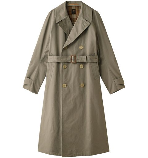 Clothing, Trench coat, Coat, Outerwear, Overcoat, Robe, Sleeve, Duster, Collar, Beige,