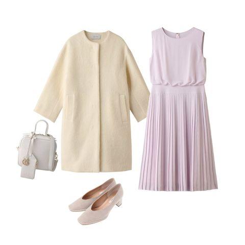 White, Clothing, Pink, Purple, Dress, Sleeve, Footwear, Blouse, Outerwear, Neck,