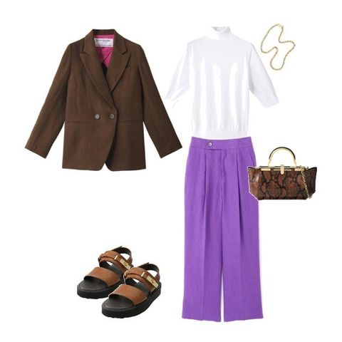 Clothing, Purple, Brown, Footwear, Pink, Violet, Fashion, Shoe, Outerwear, Dress,