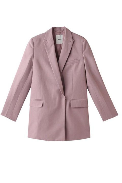 Clothing, Outerwear, Blazer, Jacket, Pink, Sleeve, Formal wear, Coat, Collar, Top,