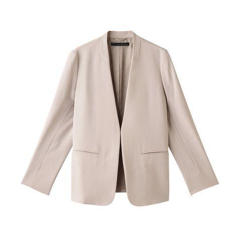 Clothing, Outerwear, Blazer, Jacket, Beige, Sleeve, Formal wear, Collar, Suit, Top,