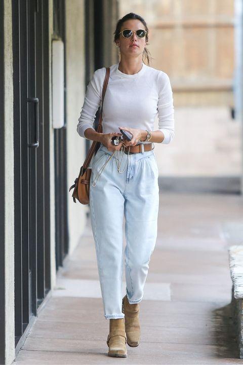White, Clothing, Street fashion, Fashion, Jeans, Waist, Shoulder, Footwear, Sportswear, Beige,