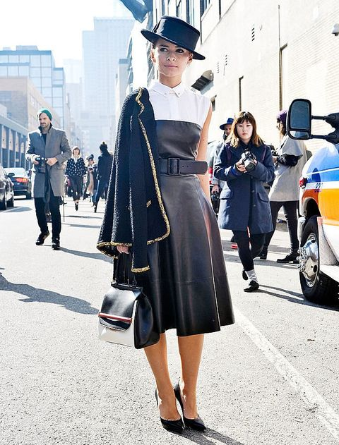 Clothing, Footwear, Road, Bag, Hat, Street, Outerwear, Dress, Automotive tire, Style,