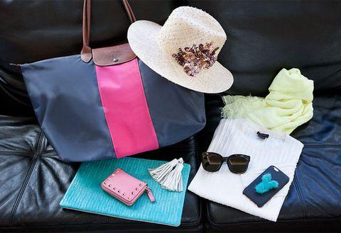 Bag, Costume accessory, Fashion accessory, Wallet, Teal, Shoulder bag, Sunglasses, Artificial flower, Costume hat, Strap,