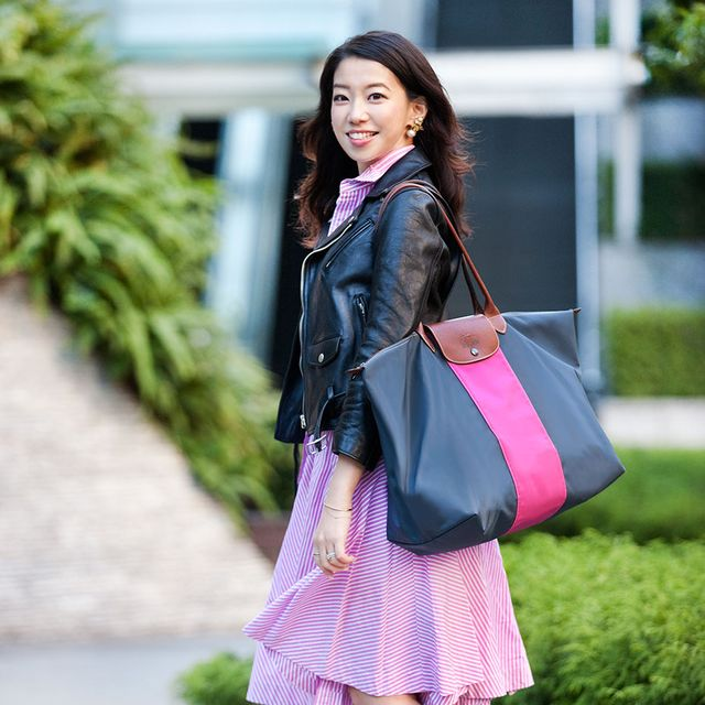 Clothing, Textile, Bag, Human leg, Pink, Style, Fashion accessory, Purple, Street fashion, Magenta,