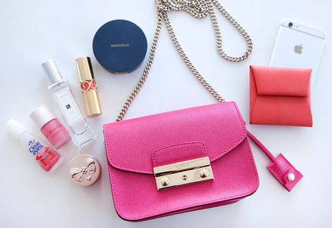 Red, Pink, Bag, Magenta, Shoulder bag, Material property, Cosmetics, Peach, Chain, Wallet,