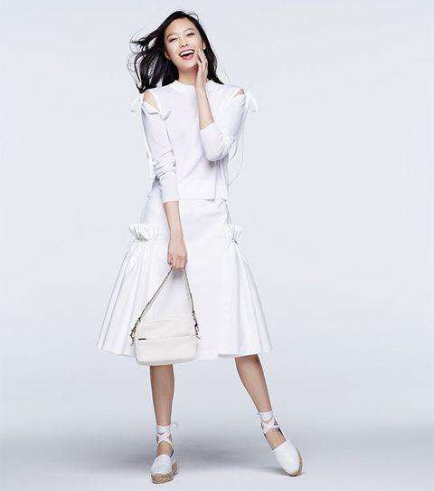 Clothing, Product, Sleeve, Shoulder, Human leg, Textile, Photograph, Joint, White, Dress,