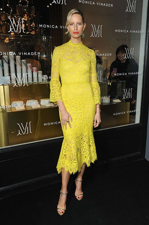 Clothing, Yellow, Dress, Fashion, Cocktail dress, Fashion model, Shoulder, Fashion design, Premiere, Footwear,