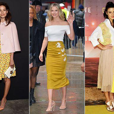Clothing, Yellow, Fashion, Fashion model, Dress, Footwear, Crop top, Pencil skirt, Street fashion, Shoe,