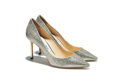 Footwear, High heels, Shoe, Court shoe, Dress shoe, Slingback, Basic pump, Bridal shoe, Silver, Beige,