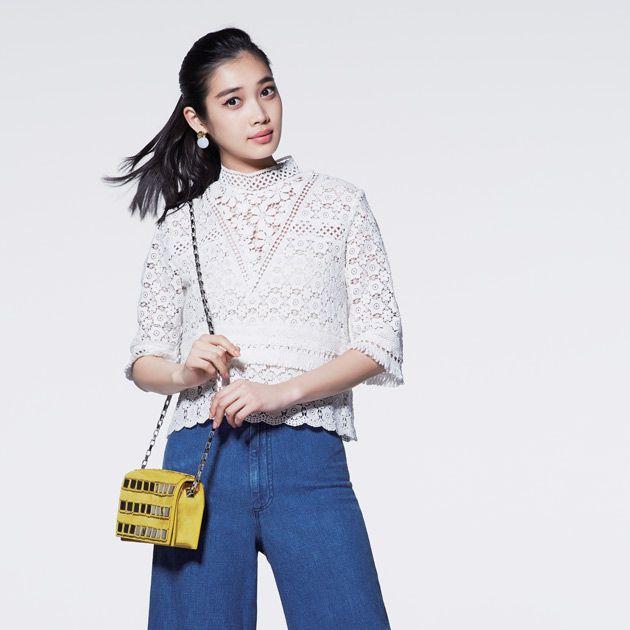 Clothing, Denim, Jeans, Blue, Waist, Fashion model, Yellow, Shoulder, Fashion, Leg,
