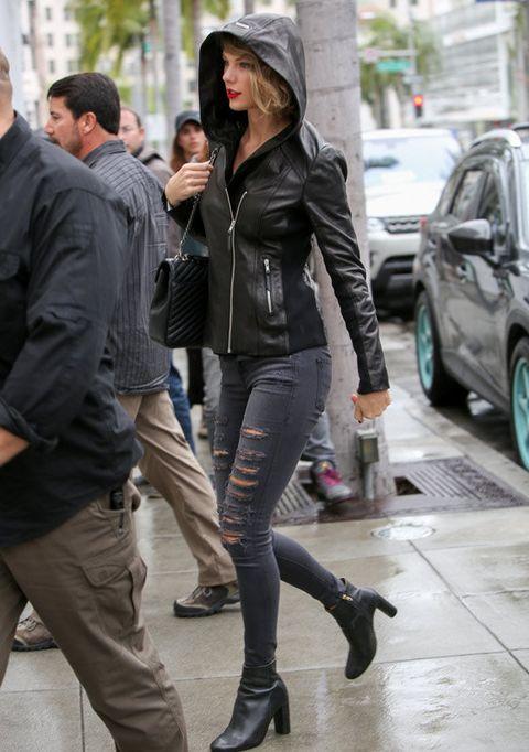 Clothing, Street fashion, Snapshot, Fashion, Jacket, Leather, Tights, Footwear, Leather jacket, Outerwear,