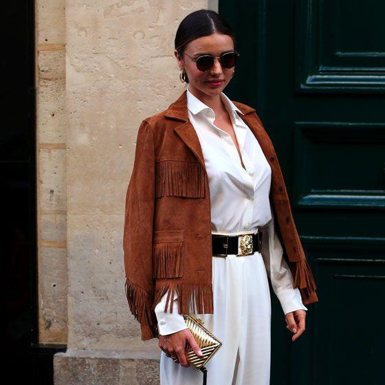 White, Clothing, Street fashion, Fashion, Suit, Brown, Outerwear, Blazer, Trousers, Footwear,