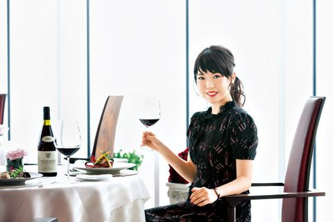 Tableware, Drink, Wine bottle, Dress, Bottle, Glass bottle, Black hair, Dishware, Wine glass, Bangs,