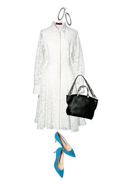 White, Clothing, Turquoise, Blue, Footwear, Bag, Outerwear, Handbag, Shoe, Dress,
