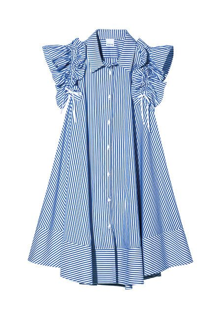 Clothing, White, Day dress, Blue, Product, Dress, Sleeve, Pattern, Pattern, Collar,
