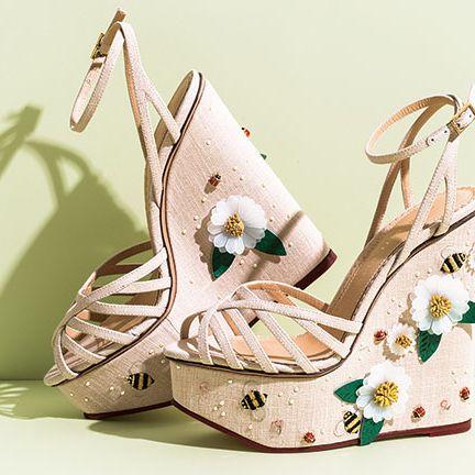 Sandal, Beige, Wedge, Slingback, High heels, Fashion design, Still life photography, Basic pump, Strap, Bridal shoe,