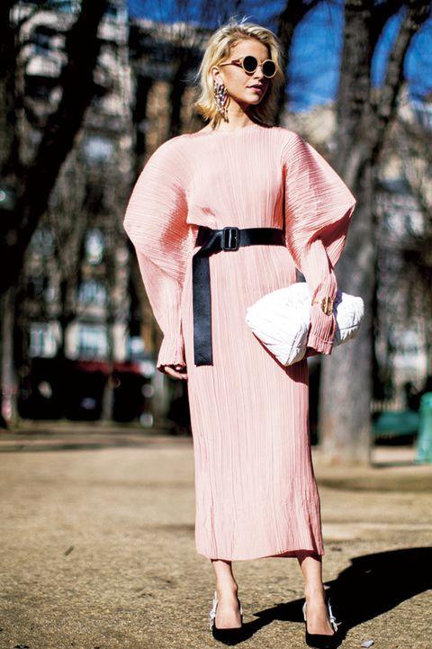 Clothing, Pink, Street fashion, Shoulder, Fashion, Dress, Fashion model, Eyewear, Joint, Spring,