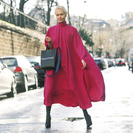 Street fashion, Pink, Red, Clothing, Fashion, Outerwear, Magenta, Snapshot, Standing, Coat,
