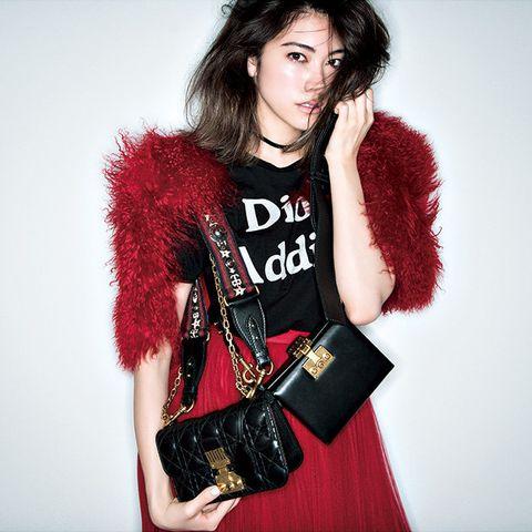 Fur, Clothing, Red, Fur clothing, Fashion, Skin, Fashion model, Outerwear, Lip, Photo shoot,