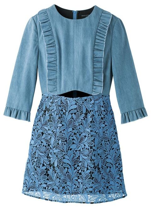 Clothing, Blue, Sleeve, Outerwear, Denim, Dress, Day dress, A-line, Blouse, Crop top,