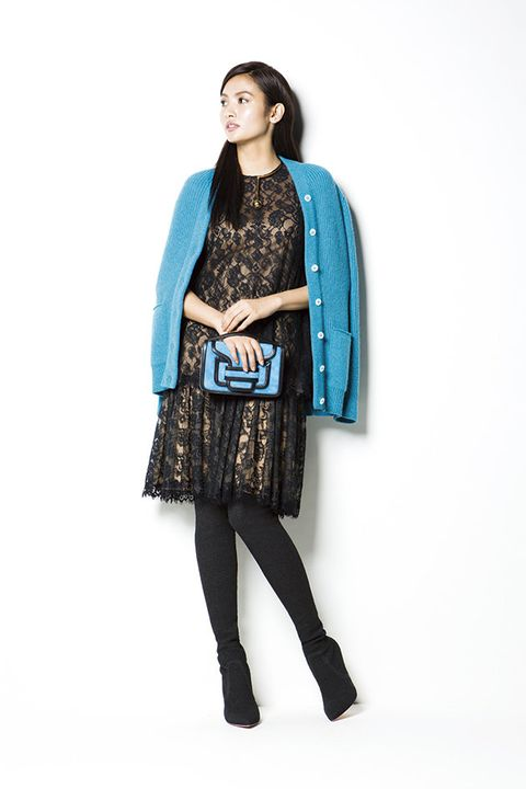 Clothing, Blue, Turquoise, Fashion model, Teal, Outerwear, Tights, Fashion, Neck, Aqua,