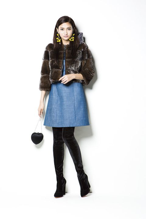 Clothing, Blue, Fur, Outerwear, Fashion, Shoulder, Knee, Jacket, Coat, Waist,
