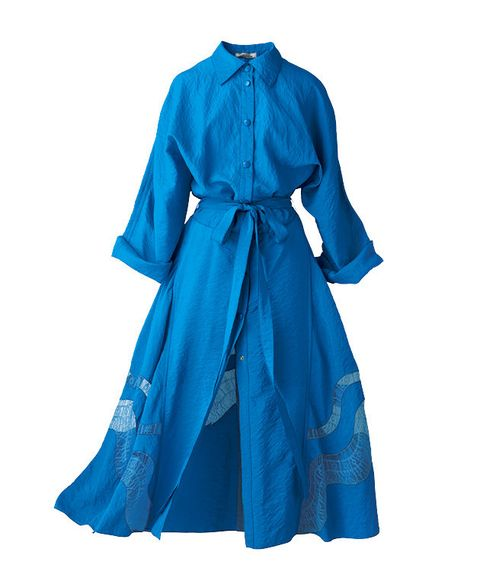 Clothing, Blue, Turquoise, Robe, Dress, Aqua, Sleeve, Outerwear, Cobalt blue, Day dress,