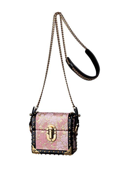Bag, Handbag, Shoulder bag, Fashion accessory, Pink, Leather, Material property, Chain, Beige, Font,