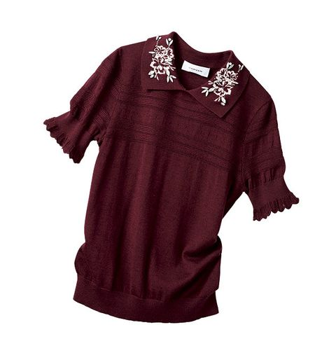 Clothing, Sleeve, T-shirt, Maroon, Red, Blouse, Top, Neck, Magenta, Cover-up,