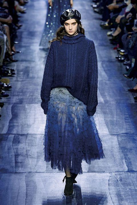 Fashion, Fashion show, Runway, Fashion model, Blue, Clothing, Cobalt blue, Haute couture, Electric blue, Street fashion,