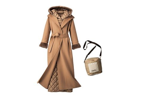 Clothing, Trench coat, Coat, Overcoat, Outerwear, Beige, Brown, Fashion, Hood, Handbag,
