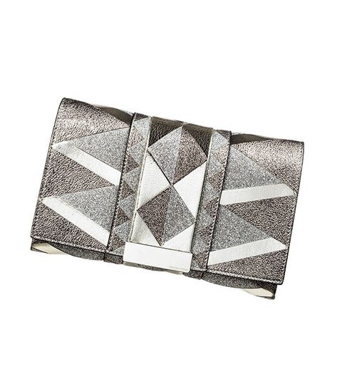Wallet, Rectangle, Beige, Silver, Fashion accessory, Triangle, Metal,