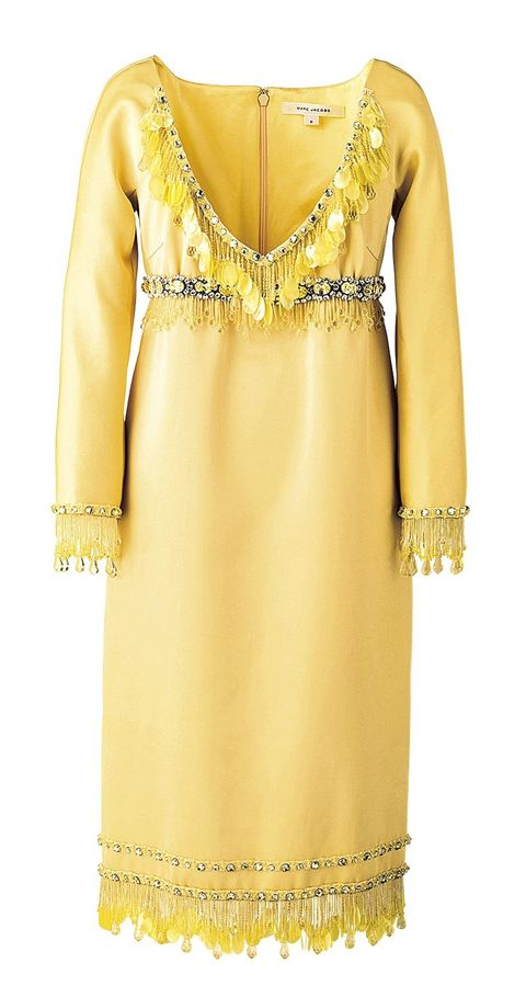 Clothing, Yellow, Dress, Neck, Day dress, Cocktail dress, Formal wear, Sleeve, Embroidery, Fashion design,