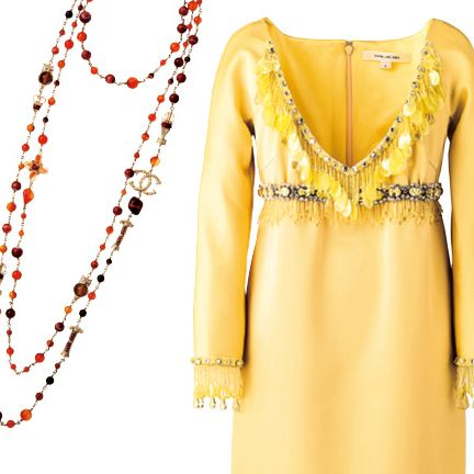 Clothing, Yellow, Dress, Day dress, Neck, Sleeve, Outerwear, Cocktail dress, Fashion accessory, Chain,