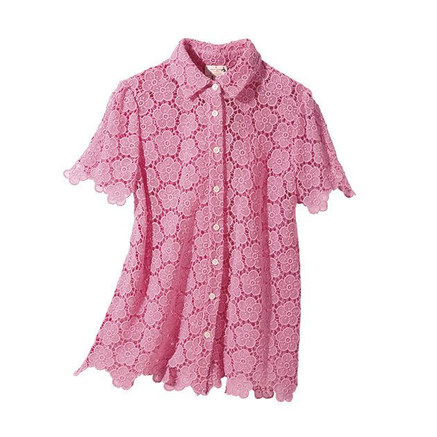 Clothing, Pink, Sleeve, Shirt, Collar, Blouse, Button, Top, Outerwear, Pattern,