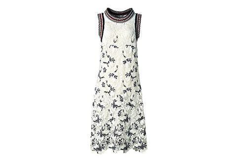Clothing, Dress, White, Day dress, Sleeve, Cocktail dress, Neck, Outerwear, Pattern, Sleeveless shirt,