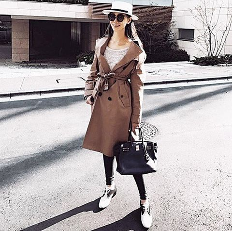 Clothing, Street fashion, Coat, Trench coat, Fashion, Shoulder, Snapshot, Outerwear, Ankle, Dress,