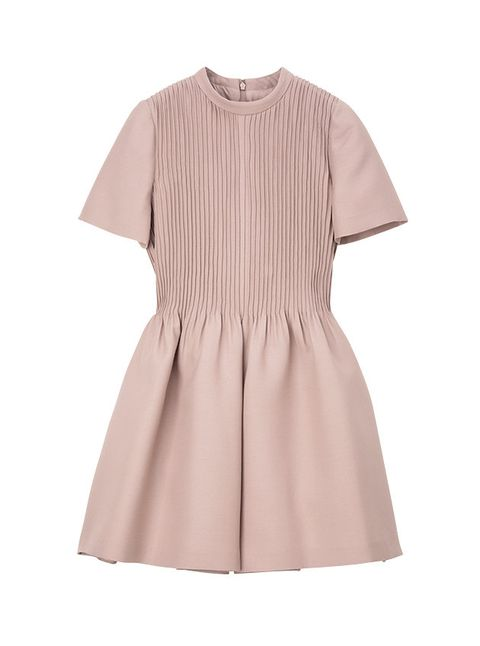 Clothing, Sleeve, Pink, Dress, Beige, Brown, Collar, Outerwear, Neck, A-line,